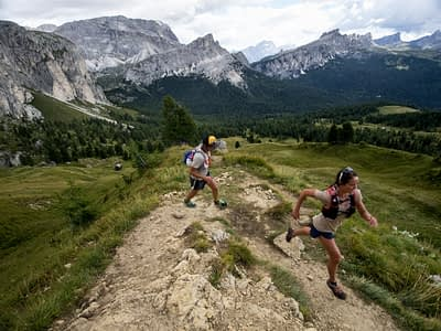 Trail running in the Dolomites.